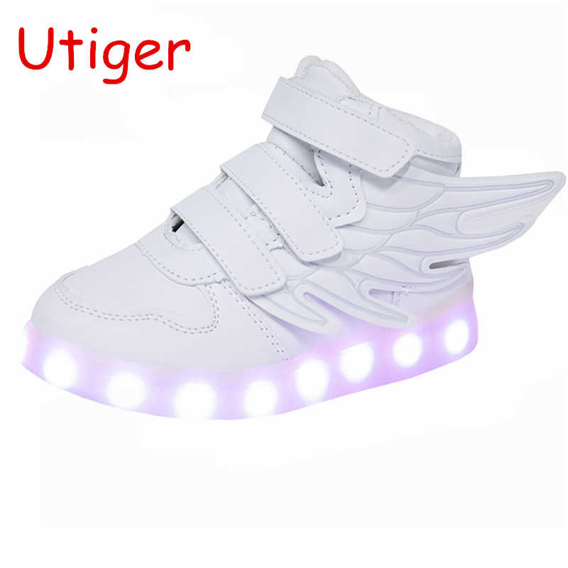 Children Glowing LED Shoes with wings Boys Girls USB Charge Luminous Shoes Light Up fashion Kids Sneakers White 7 colors