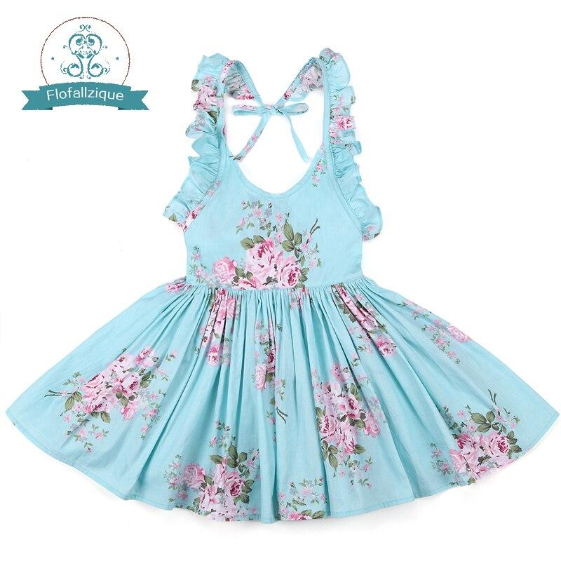 Платье для маленьких девочек брендовые летние пляжные Стиль Цветочный принт вечерние платья с открытой спиной для девочек Винтаж малыша одежда для девочек 1-8Yrs