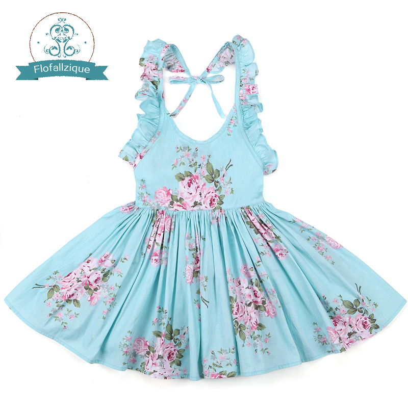 цена Baby Girls Dress Brand Summer Beach Style Floral Print Party Backless Dresses For Girls Vintage Toddler Girl Clothing 1-8Yrs