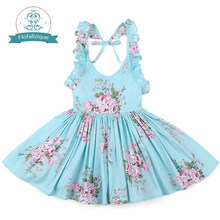 Baby Girls Dress Brand Summer Beach Style Floral Print Party Backless Dresses For Girls Vintage Toddler Girl Clothing 1-8Yrs(China)