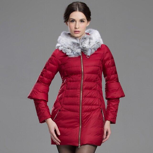 2015 nuevo invierno abajo chaqueta para para fleecedis recuperación usted  señoritas Nautral sombrero del conejo abrigo b5bf80ebcea