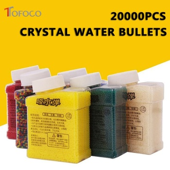 TOFOCO 20000Pcs &1 Bottle Color Crystal Paintball Bullet Water Soft Bullets Gun Toy Gun Accessories Crystal Mud Soil Orbeez Ball الكور التي تكبر في الماء