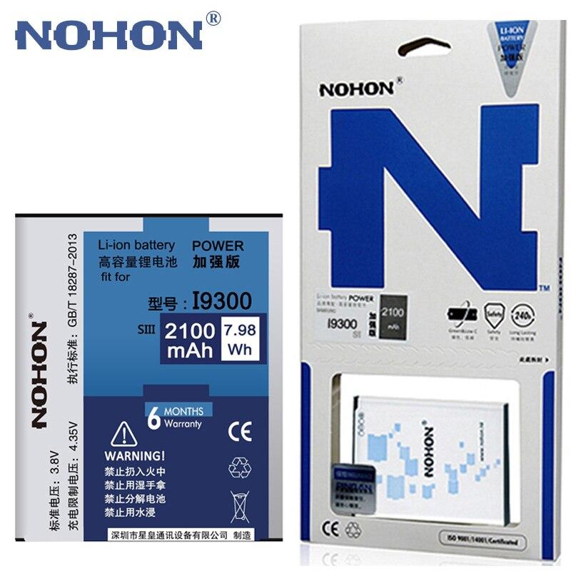 NOHON 2100 mAh Da Bateria Original Para Samsung Galaxy S3 SIII I9300 I9308 i9082 i9305 T999 EB-L1G6LLU Substituição de Baterias de Telefone