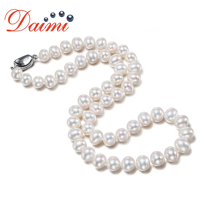 DAIMI Choker Necklaces 9-10mm Natural Pearl White Freshwater Pearl 18 Inches Classic Necklace Mother's Gift