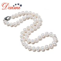 DAIMI Choker Necklaces 9 10mm Natural Pearl White Freshwater Pearl 18 Inches Classic Necklace Mother's Gift