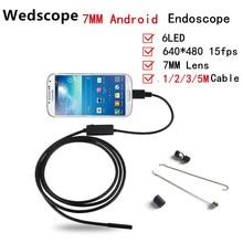 Эндоскопа 7 ММ 1 М/2 М/3.5 М/5 М 6LED USB Водонепроницаемый Андроид Эндоскоп Бороскоп труба Змея Камеры 7 мм Объектив Камеры Эндоскопа