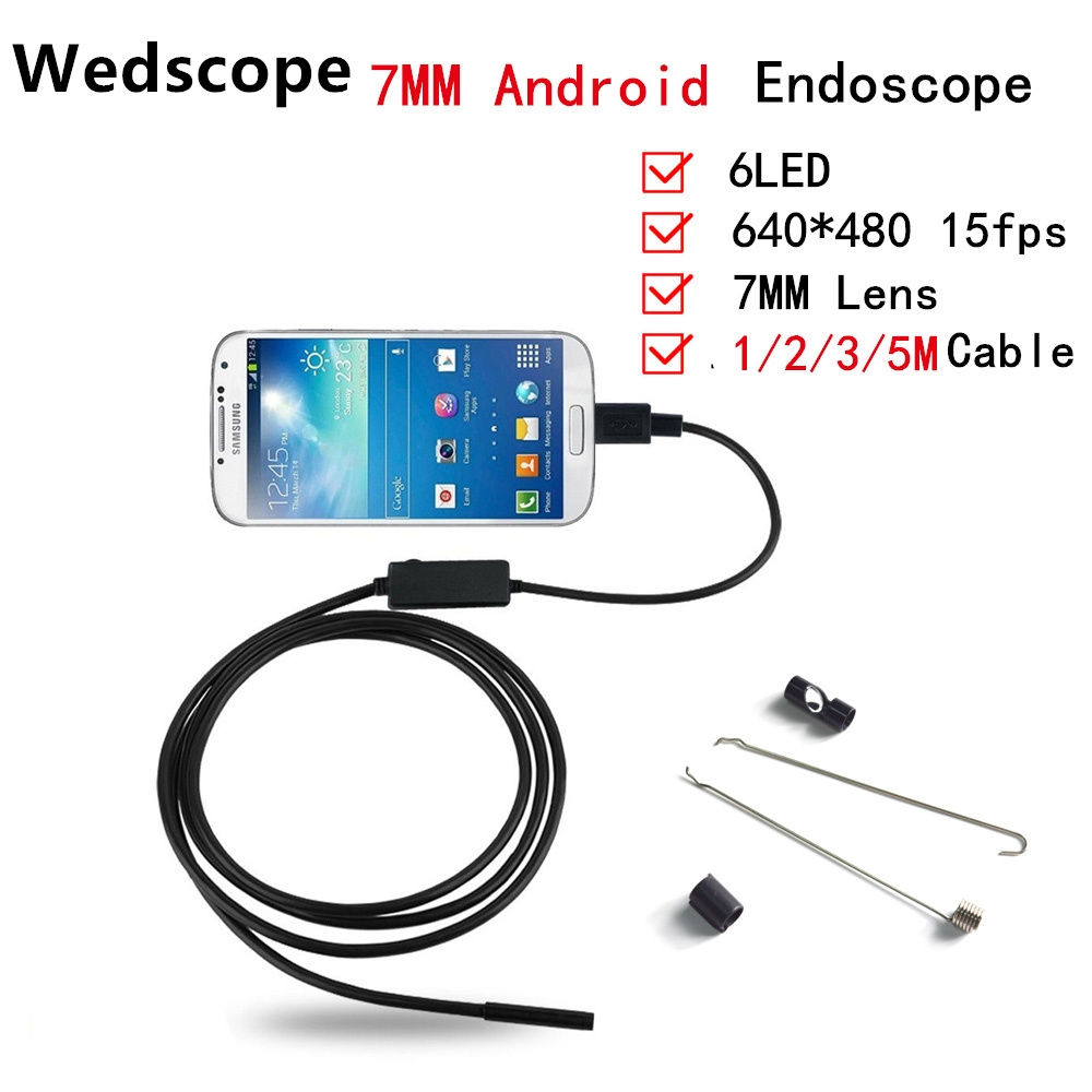 Wedscope Endoscope 7MM 1M 2M 3M 5M 6LED USB Waterproof Android Endoscope Borescope Tube Snake font