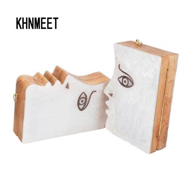 Новейшие древесины моды личности сплайсинга Белый Акрил цепи сцепления Сумки вечерняя сумочка лицо девушки Банкетный сумка SA38