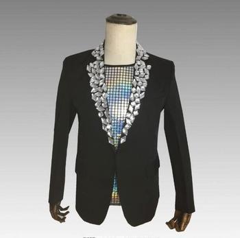 Fashion 2 Colors Big Rhinestones Slim Men Suit Jacket Nightclub Male Singer Host Outfit Evening Performance Prom Solid Blazer