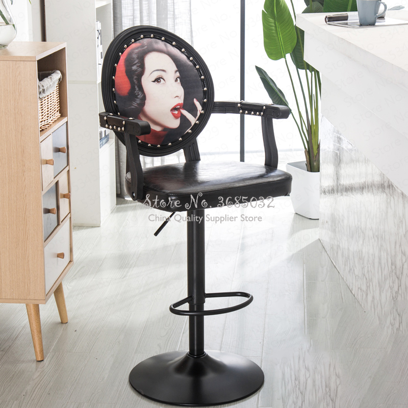 D,European Bar Stool Rotating Chair Height Adjustable Bar Chairs With Armrest Cash Register Reception Chairs