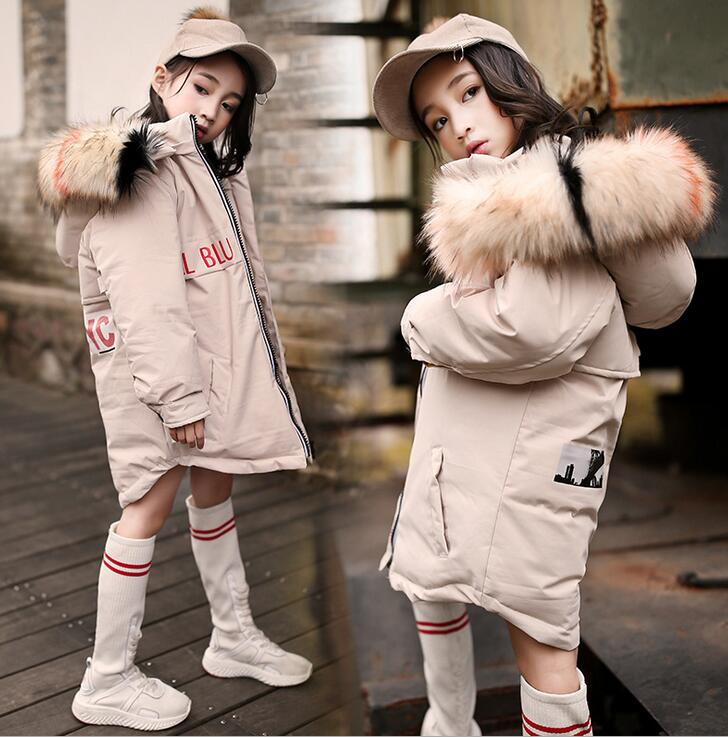 New 2018 Fashion Children Winter Down Jacket Girl Winter Coat Kids Warm Thick Fur Collar Hooded long cotton Coats - 30 clothing brand fashion long winter jacket women slim solid hooded fur collar zippers ladies long jacket warm cotton coat plus size xxxl