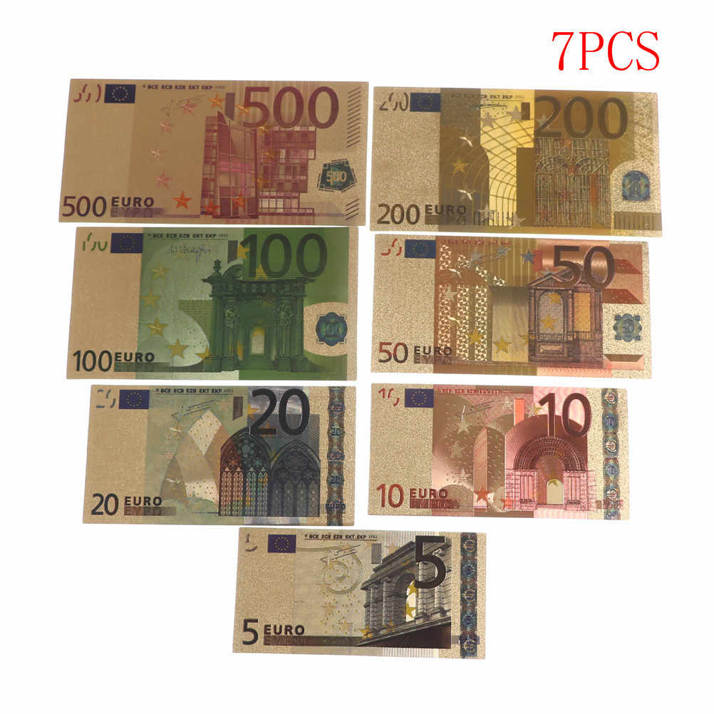7 Pcs 24K Oro Placcato Euro di Denaro Falso Commemorativa Note Collection Souvenir Antico Placcato Decorazione 5-500Dollar di Alta Qualità