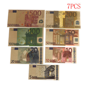 7pcs 24K Gold Plated Euros Fake Money Commemorative notes Collection Souvenir Antique Plated Decoration 5-500Dollar High Quality(China)
