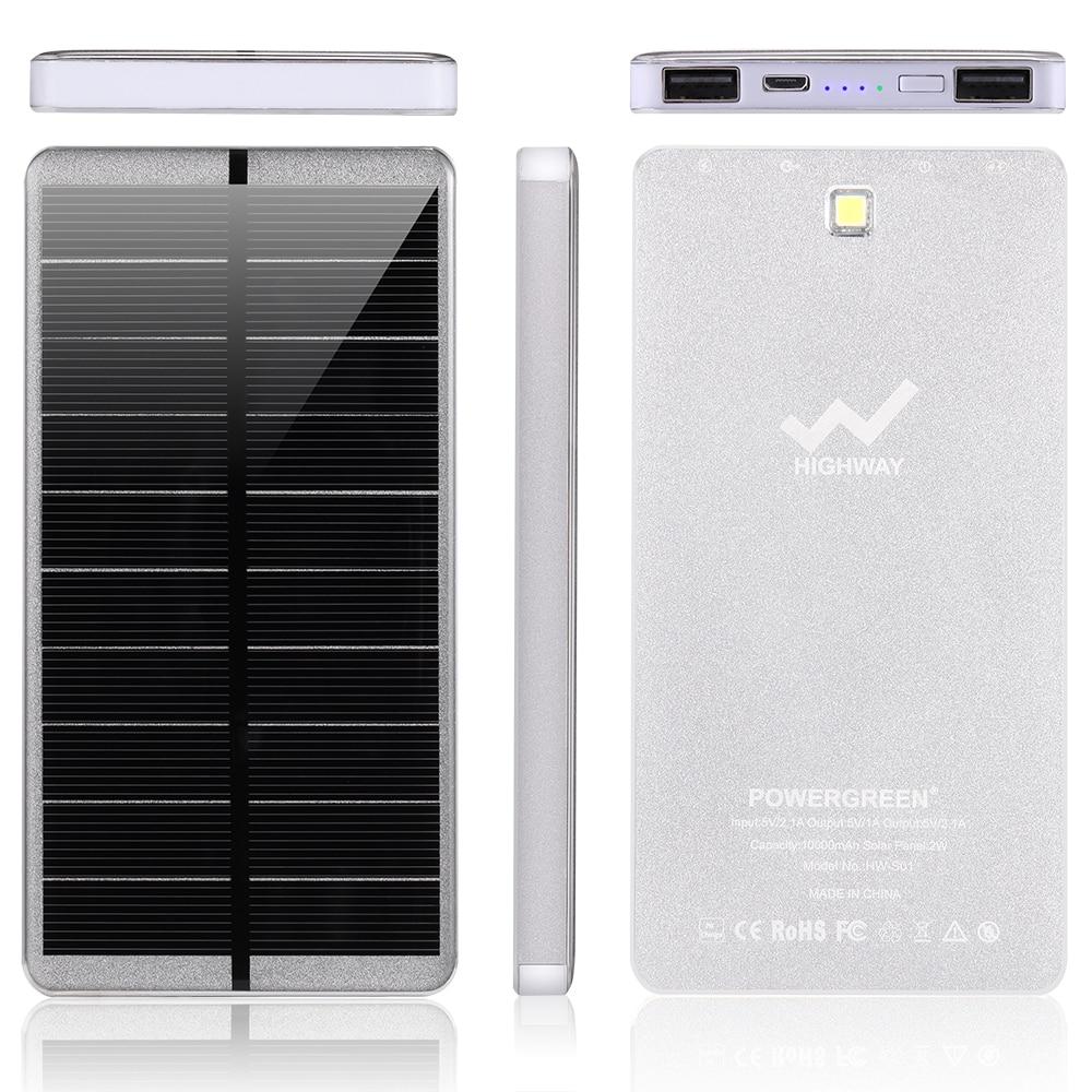 PowerGreen Emergency Power Bank Lights Design USB External Charger 10000mAh 5V 2A Mini Solar Panel for Mobile Phone
