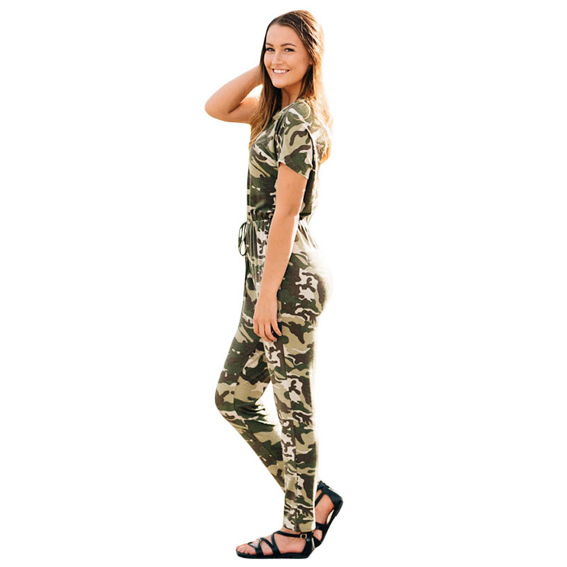 3399420b22dd Liva Girl Camouflage Drawstring Casual Jumpsuit Long Pants Short Sleeve Top  T Shirt O Neck Overalls Playsuit Combinaison Femme-in Jumpsuits from  Women s ...