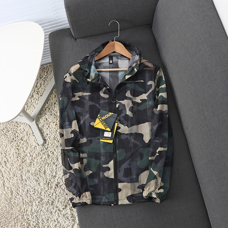 Camouflage Hollow Out Mesh Breathable Sun-Protective Quick-drying Coat Men's Outdoor Hiking Fishing Long sleeve Hooded Jacket