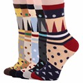 RioRiva 5pairs/Pack US5-9/EU35-40 Women Multi Colored With Dot Short Mid Calf Crew Women's Socks Vertical Stripes Ankle Sox