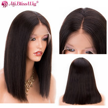 Straight Short Bob Wigs Lace Front Human Hair Wigs For Black Women Brazilian Remy Hair With Baby Hair Full End Aliblisswig(China)