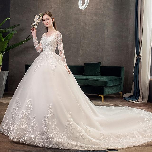New Romantic Sweet Elegant Luxury Long Lace Princess Wedding Dress With Sleeves Appliques Celebrity Bride Gown Vestidos De Noiva 3