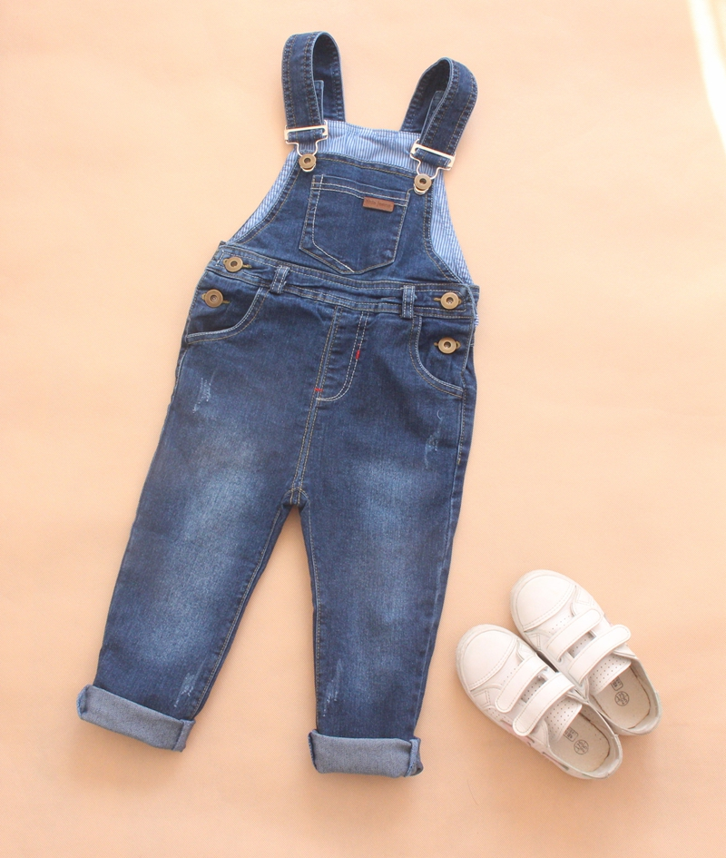 2-6Year Boys Girls Casual Denim Overalls Jeans Kids Denim Jumpsuit Baby Long Pants Children Spring Autumn Trousers boys jeans kids trousers fashion children girls denim pants spring autumn baby casual soft long pants elastic jeans color gray