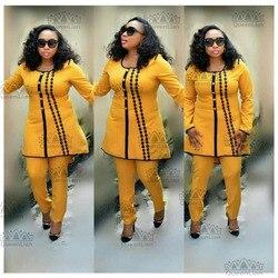 Größe Freies Verschiffen Afrikanische Dashiki Anzug Neue Große Elastische Herbst Design Langarm Schön Bestickte Bazin Anzug Für Dame (TZ03 #)