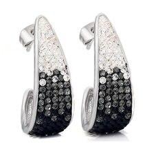 Модные серьги гвоздики из нержавеющей стали с кристаллами Женские