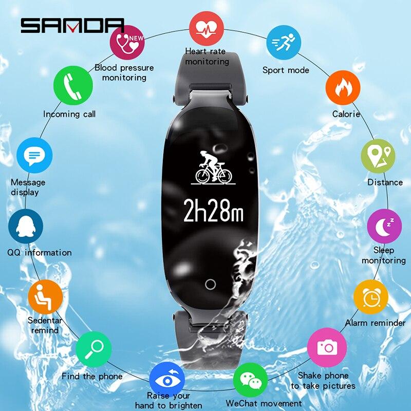 SANDA dame montre intelligente femmes Bluetooth Sport montres relogio femme moniteur de fréquence cardiaque Fitness Tracker Smartwatch pour IOS Android