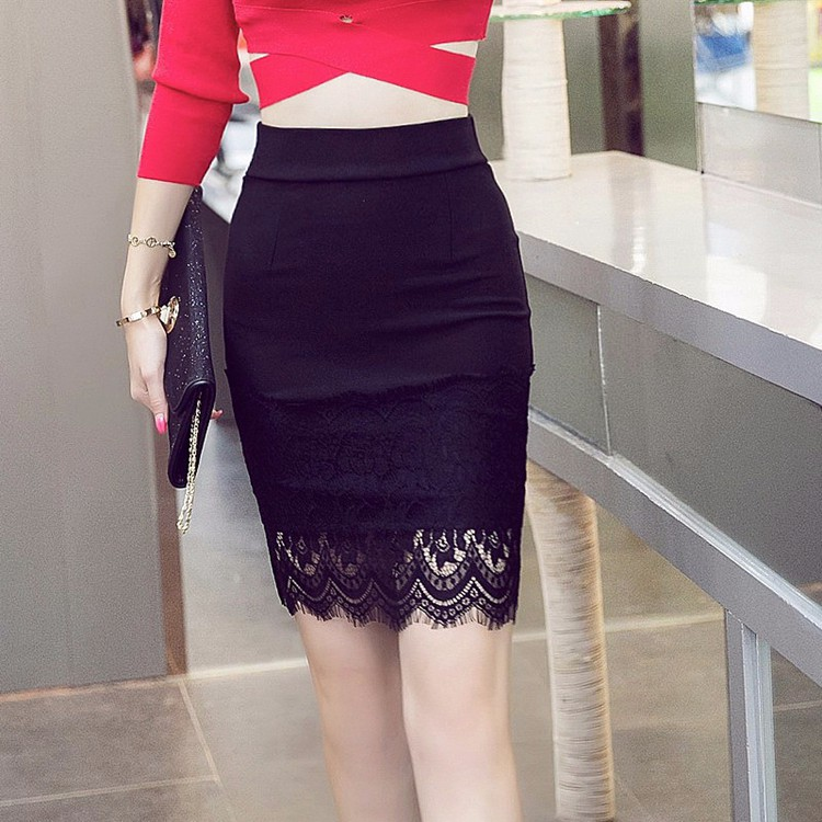 Elegant Black Lace Pencil Mini Skirt