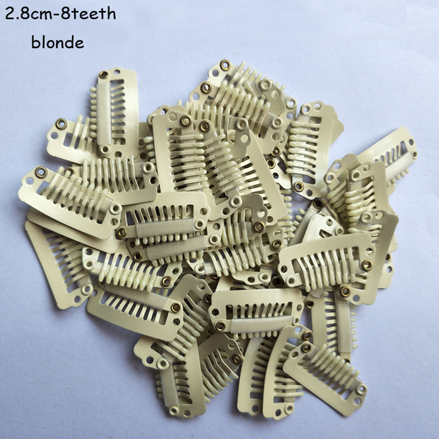100 Pcs 28cm 8teeth Hair Extensions Tools Wig Silicone Snap Clips