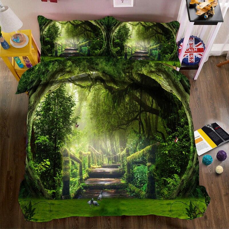 2017 jungle scenery 3d bedding set polyester cover bed. Black Bedroom Furniture Sets. Home Design Ideas