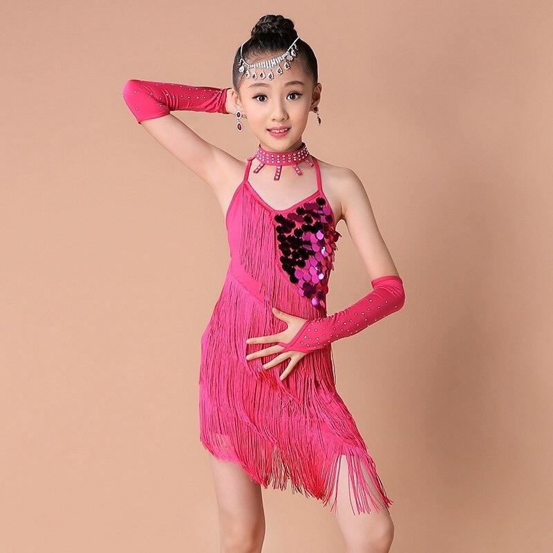 2019 Girl Latin Dance Costume Fringe Tassel Sequins Performance Latin Dance Dress For Girls Kids Latin Dance Competition Dresses