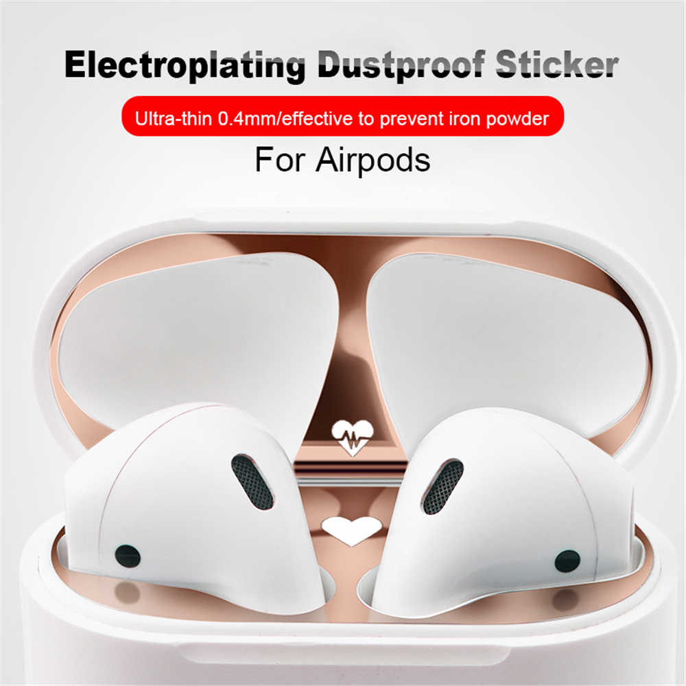 1 Set Ultra Thin Skin Protective Cover Metal Film Sticker Iron Shavings Dust Guard For AirPods Airpod