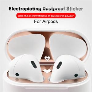 Image 3 - Hot 1 Set Ultra Dunne Huid Beschermhoes Metalen Film Sticker Iron Schaafsel Dust Guard Voor Airpods Airpod/Airpods pro