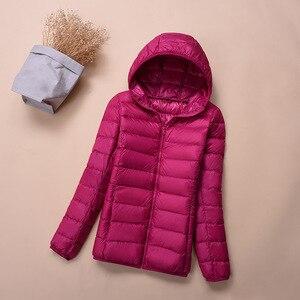 Image 5 - Hooded Down Jackets Winter Women Warm Coat Parka Female Ultralight Thin Down Jacket Duck Long Sleeve Portable Outwear 2020 6XL