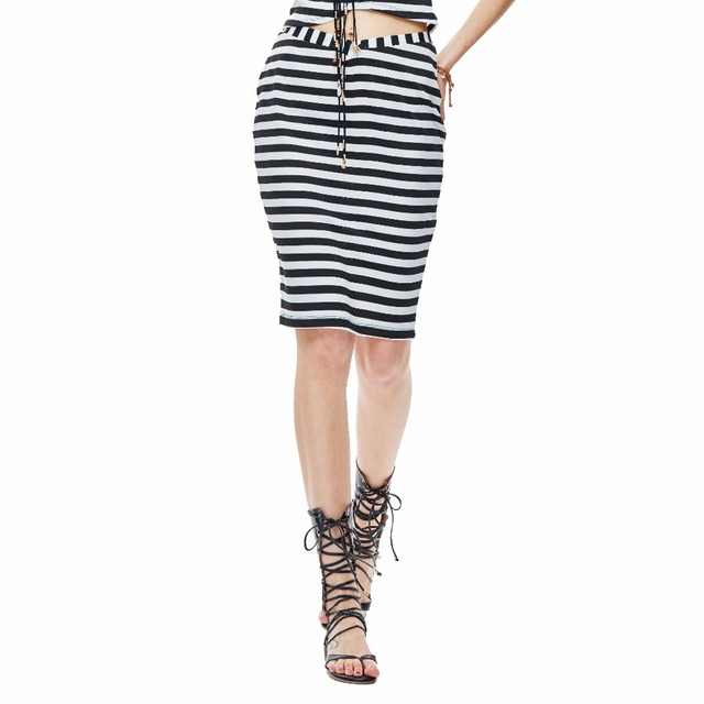 40ef6d53502c0f Heart Soul Summer Womens Black White Striped Straight Knee-Length Midi  Skirts Sexy Slim OL Skirts Office Skirt SK0229
