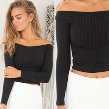 Sexy Womens Off Shoulder Tops Long Sleeve Sweater Crop Tops T-shirt