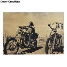 2018 moda Retro Cool motocicleta Poster café Kraft papel Poster pegatina de pared vintage antiguo