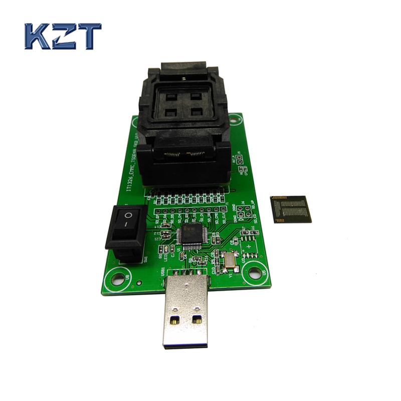 High Quality eMCP221 Socket to USB, for BGA 221 testing, size 11.5x13mm, nand flash programmer, Clamshell Test Socket Wholesale  emcp socket with sd interface for bga 221 testing size 11 5x13mm nand flash programmer clamshell structure