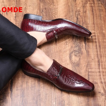 italian brand designer men casual business wedding formal dress bright patent leather shoes slip on lazy driving oxfords loafers OMDE Crocodile Pattern Slip On Genuine Leather Shoes Men Pointed Toe Loafers Business Mens Formal Shoes Italian Dress Shoes