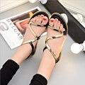 Mulheres sandálias verão 2017 moda slip-on sandálias de bling plana sólida mulheres casuais de alta qualidade praia sapatos chaussure femme