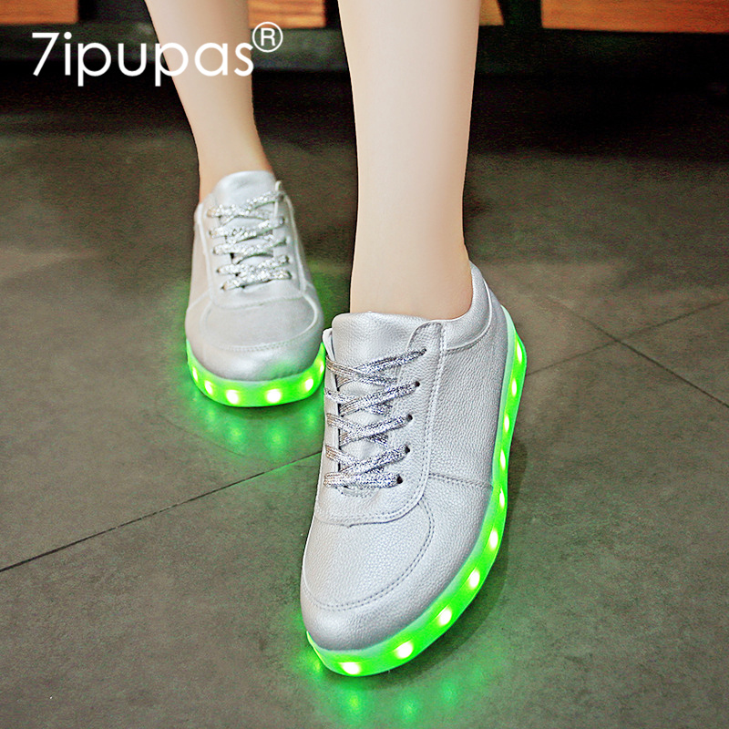 7ipupas China Solid Silver Kids Shoe Led Glowing Casual Trainers All Sport Breathe Slipony Luminous Sneakers Zapatillas Krasovki