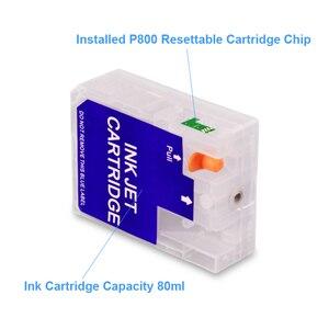Image 3 - Cartucho vazio recarregável, 9 cores/conjunto t8501 T8501 T8509 com chip de redefinição para epson surecolor p800 SC P800 impressora 80 ml/pc