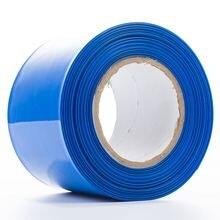5 เมตร/ล็อต 130 มม.Lay flat กว้าง PVC ความร้อนหดหลอดสีฟ้าสำหรับ 18650 แบตเตอรี่