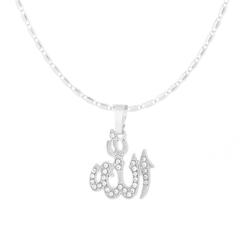 Klasyczne islamski bóg wisiorek naszyjnik dla kobiet srebrny/złoty kolor CZ rhinestone naszyjnik religijne muzułmanin biżuteria hurtowych