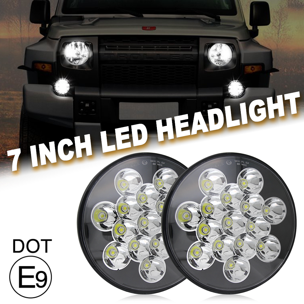 CO LIGHT 7Inch Round 45W LED Headlight Hi/Low For Lada Niva 4x4 Jeep Wngler Hummer Land rover DRL Auto Driving Fog Light 12V 24V co light 1 pair led headlight 4x6 45w high low fog lamp for kenworth gmc chevrolet ford jeep lada niva 4x4 offroad 9 32v 3000k