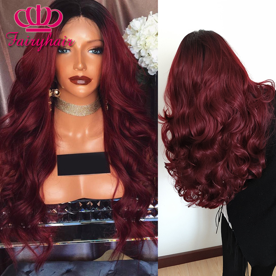 High Quality Ombre lace front wig burgundy ombre glueless body wave heat resistant synthetic lace front wig for black women wig