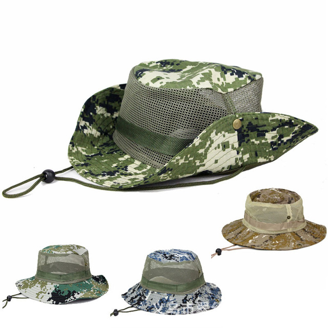 Camouflage Fisherman Hat Wide Brim Bucket Fishing Cap Male Female Outdoor  Camo Hunting Camping Anti- 849030ae50b4