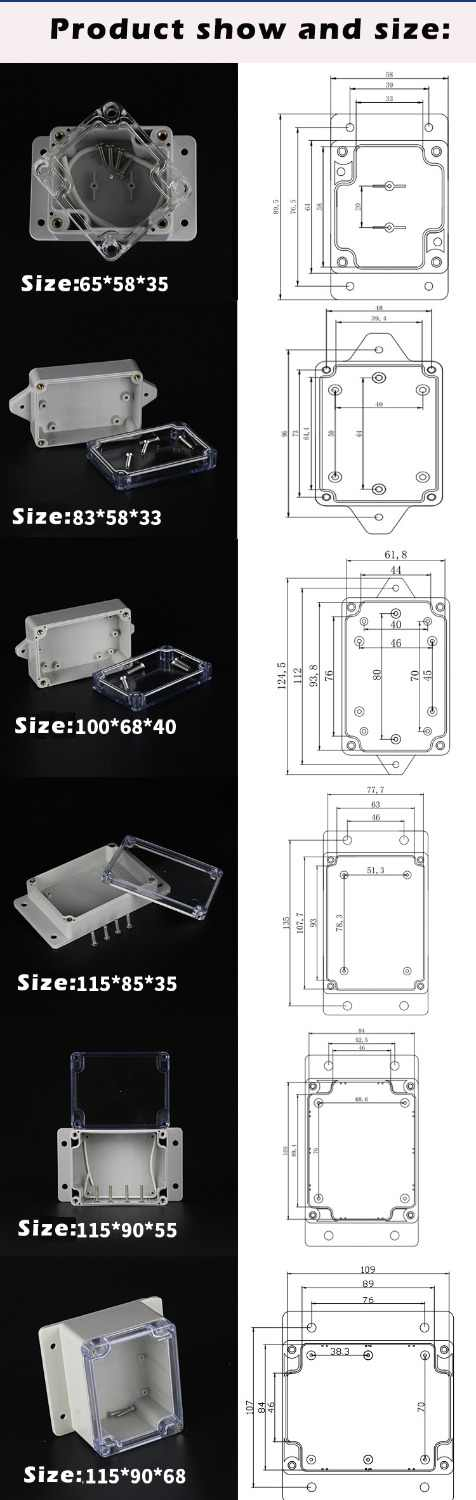 200mmx120mmx56mm ABS Plastic Dustproof Junction Box Electric Project Enclosure