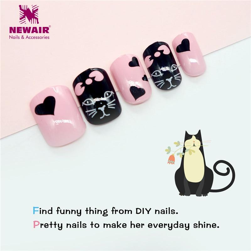 Get This 24pcs Sweet Cat False Nail Tips Cartoon Short Fake Nails ...