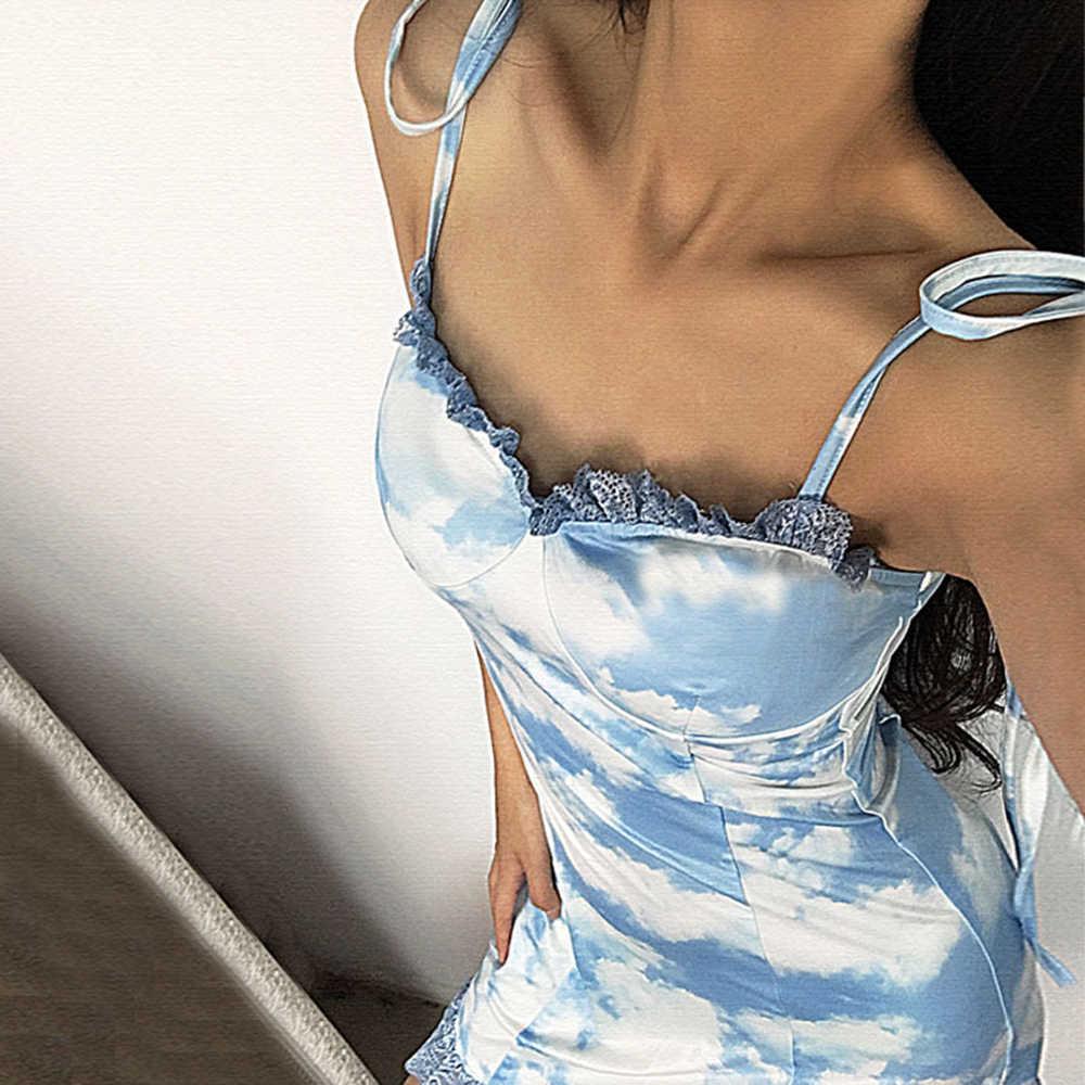 مثير النساء سحابة نمط فستان بكتافة الدانتيل الكشكشة الدانتيل يصل فساتين السباغيتي حزام المتناثرة حزب اللباس Vestidos فيرانو المشاهير